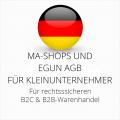 abmahnsichere MA-Shops und eGun AGB B2C und B2B für Kleinunternehmer