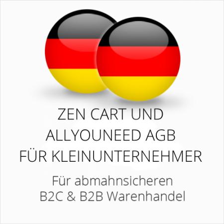 abmahnsichere Zen Cart und Allyouneed AGB B2C & B2B für Kleinunternehmer