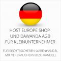 abmahnsichere Host Europe Shop und Dawanda AGB für Kleinunternehmer