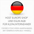 abmahnsichere Host Europe Shop und eGun AGB für Kleinunternehmer