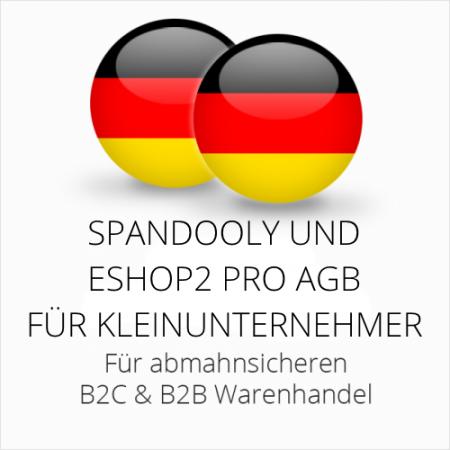 abmahnsichere Spandooly und ESHOP2 Pro AGB B2C & B2B für Kleinunternehmer