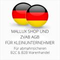 abmahnsichere Mallux Shop und ZVAB AGB B2C und B2B für Kleinunternehmer