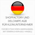 abmahnsichere Shopfactory und Delcampe AGB für Kleinunternehmer