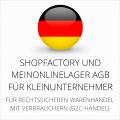 abmahnsichere Shopfactory und MeinOnlineLager AGB für Kleinunternehmer
