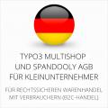 abmahnsichere Typo3 Multishop und Spandooly AGB für Kleinunternehmer