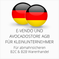 abmahnsichere e-vendo und Avocadostore AGB B2C und B2B für Kleinunternehmer